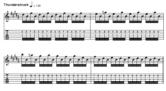 How To Play Thunderstruck On Guitar : ac dc thunderstruck excerpted from riffs for guitar american guitar encyclopedia ~ Vivirlamusica.com Haus und Dekorationen